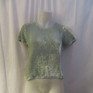 MONDI SEA FOAM GREEN COTTON KNIT SEQUINS SWEATER S